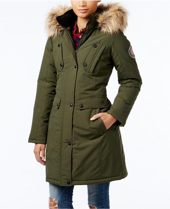 14ce5321fc8 $125, Madden-Girl Madden Girl Faux Fur Trim Hooded Parka