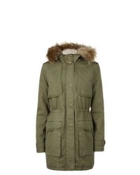 New Look Khaki Fur Trim Hooded Parka