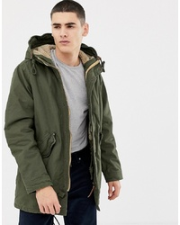 Jack & Jones Originals Parka With Borg Lined Hood And Drawstring Waist