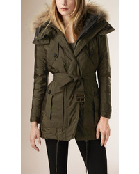 Burberry Parka With Fur Hood And Down Filled Warmer