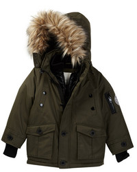 Diesel Parka With Quilted Vestee And Faux Fur Trimmed Hood