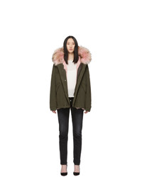 MR AND MRS ITALY Pink And Green Fur Mini Parka
