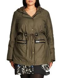 City Chic Plus Size Faux Fur Faux Leather Trim Hooded Drawstring Parka