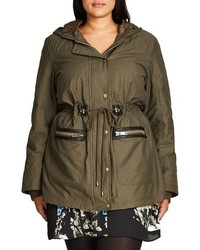 City Chic Plus Size Faux Fur Faux Leather Trim Hooded Drawstring Parka