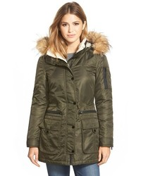 GUESS Satin Flight Parka With Removable Faux Fur Trim Hood Faux Shearling Lining