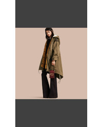 Burberry Shearling Trimmed Cotton Canvas Parka