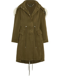 Alexander McQueen Shearling Trimmed Cotton Drill Parka Army Green