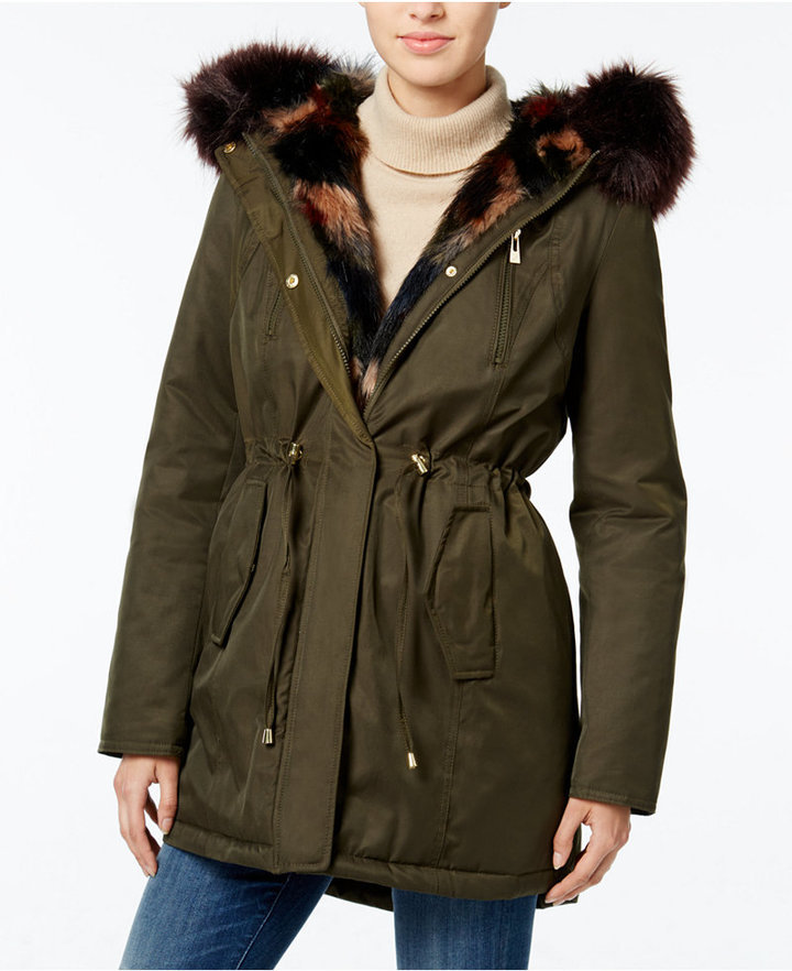 6111bf7b88d $149, Wildflower Hooded Faux Fur Trim Parka Only At Macys