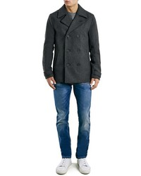 Topman Charcoal Slim Fit Wool Blend Peacoat | Where to buy & how ...