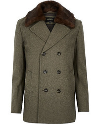 River Island Ecru Wool Blend Faux Fursmart Pea Coat