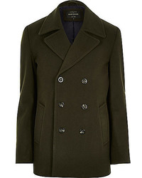 River Island Green Smart Wool Blend Pea Coat