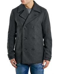Topman Charcoal Slim Fit Wool Blend Peacoat