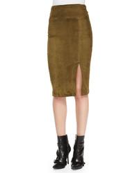 Alice + Olivia Tani Suede Pencil Skirt Olive