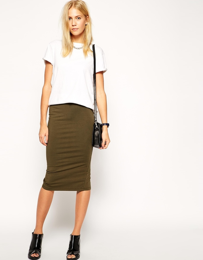 Asos Collection Midi Pencil Skirt In Jersey | Where to buy & how ...