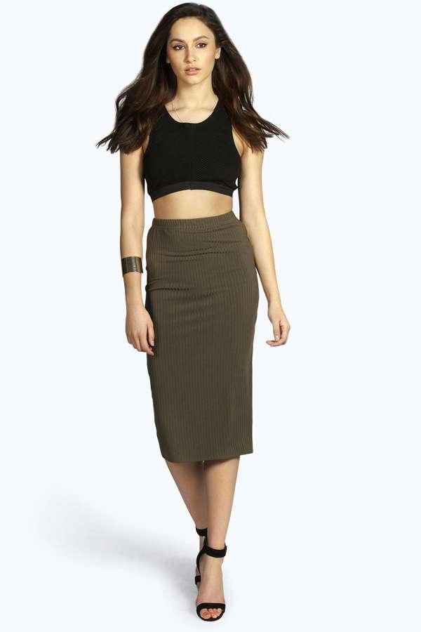 Boohoo Tori Thick Rib Bodycon Midi Skirt | Where to buy & how to wear