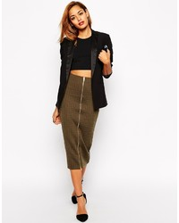 Asos Collection Column Pencil Skirt In Texture With Zip Front