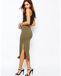 Asos Collection Longer Length Midi Pencil Skirt With Thigh Split