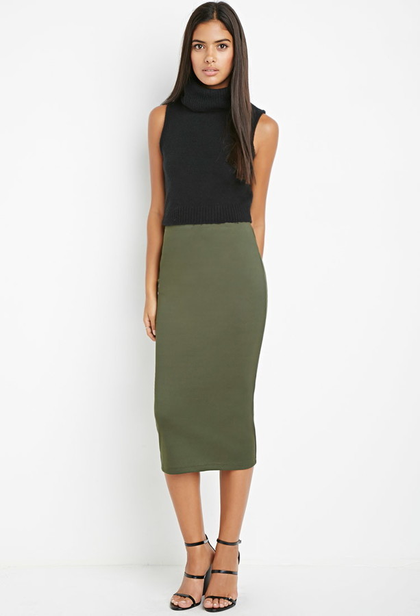 afaca12c8a ... Olive Pencil Skirts Forever 21 Contemporary Ribbed Pencil Skirt ...