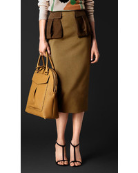 Burberry Prorsum Cotton Twill Pencil Skirt With Nubuck Pockets