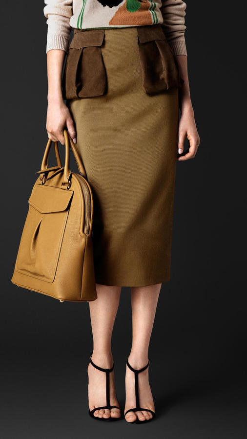 Burberry Prorsum Cotton Twill Pencil Skirt With Nubuck Pockets ...