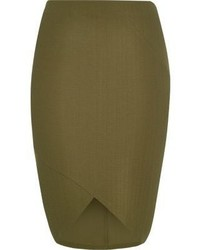 River Island Ri Plus Khaki Textured Pencil Skirt