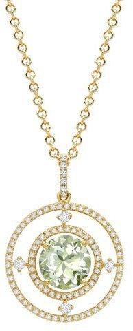 Kiki McDonough Apollo Green Amethyst Diamond Pendant Necklace