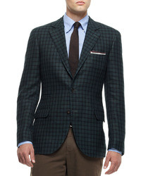 River Island Green Check Wool Blend Slim Blazer | Where to buy ...