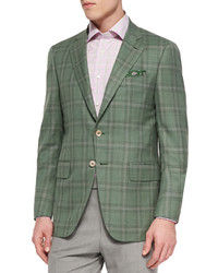 Plaid jacket with contrast deco greenlavender medium 599966