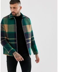 ASOS DESIGN Zip Through Jacket In Green Check
