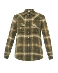Olive Plaid Dress Shirt