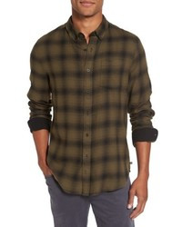 Olive Plaid Flannel Long Sleeve Shirt