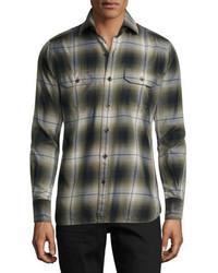 Tom Ford Plaid Flannel Military Shirt Green