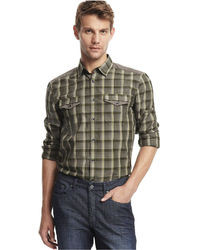 Kenneth Cole Reaction Shirt Long Sleeve Plaid Knit Shirt