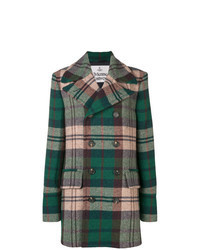 Olive Plaid Overcoat
