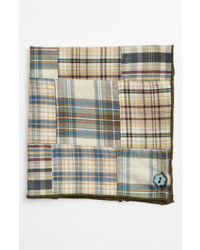 Olive Plaid Pocket Square