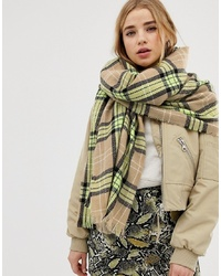 New Look Neon Check Scarf In Green Pattern