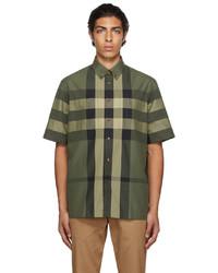 Burberry Green Cotton Check Short Sleeve Shirt