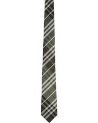 Burberry Khaki Silk Check Modern Cut Tie