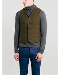 Topman harris tweed green vest medium 111705