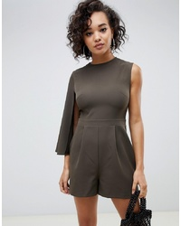 ASOS DESIGN Clean One Sleeve Cape Playsuit