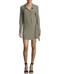 Halston Heritage Long Sleeve Faux Wrap Romper Green