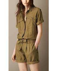 Burberry Silk Linen Utility Playsuit
