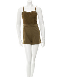Alice + Olivia Suede Accented Sleeveless Romper