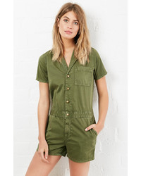Current/Elliott The Engineer Shortall Romper In Olive 0 1