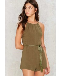 Factory Tie And Bye Low Back Romper Olive