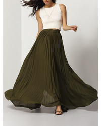 Olive Pleated Maxi Skirt