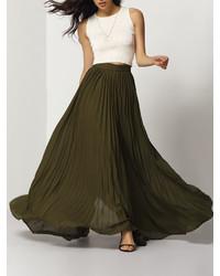 Army green pleated maxi skirt medium 451136