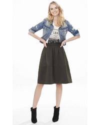 Express Olive High Waist Textured Full Midi Skirt