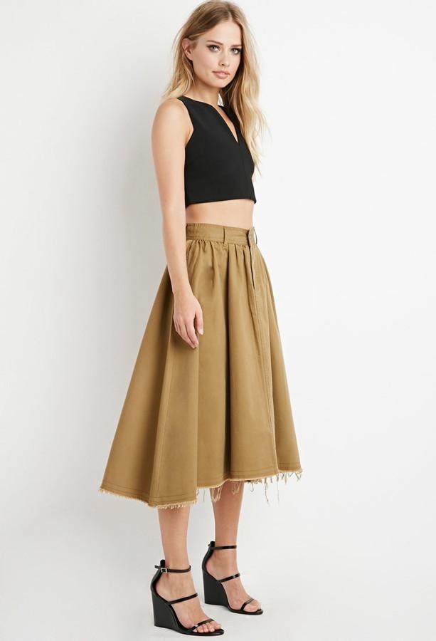 5642cf60e6 Forever 21 Frayed Midi Skirt, $27   Forever 21   Lookastic.com