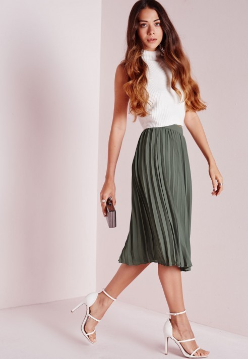 Missguided Pleated Midi Skirt Khaki | Where to buy & how to wear